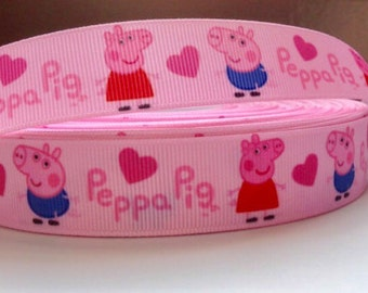 7/8 inch Peppa Pig Ribbon Grossgrain Ribbon Peppa Pig Ribbon by The Yard Peppa Pig Hair Bows