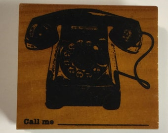 Like New Vintage Telephone Mounted Wooden Rubber Stamp
