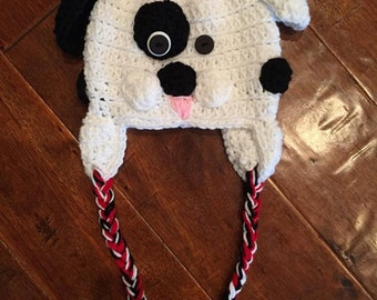 Crocheted puppy dog hat with ear flaps and bow, kids costume hat, handmade hat, puppy hat with ear flaps and braids, dalmation hat