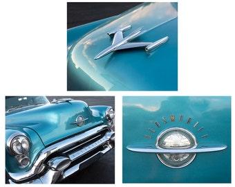 Vintage Car Photography, Gift for Men, Classic Car Photography, Manly Art, Teal and Chrome, 53 Oldsmobile Photo