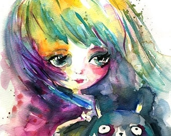 My Totoro Original watercolor painting by the artist whimsical fantasy very cute