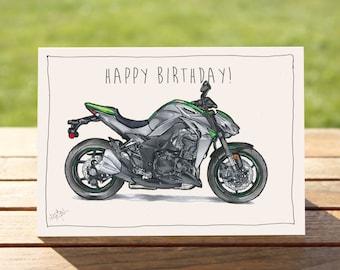 "Motorcycle Birthday Card Silver Sportsbike Z1000   A6 - 6"" x 4"" / 103mm x 147mm   Motorbike Gift Card, Motorcycle Gift Card"