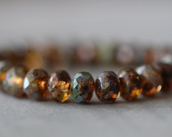 Topaz and Picasso, 7x5mm (10) Brown Picasso Finish, Faceted, Rondelle, Czech, Glass, Beads, 10 pieces