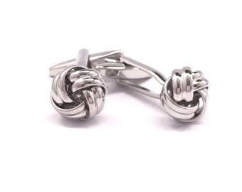 Classic Silver Ribbed Knot Cufflinks