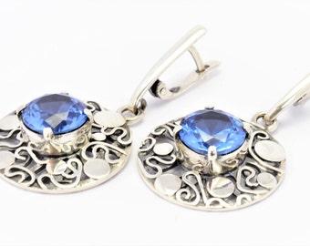 Earrings london blue topaz sterling silver earrings gift for women