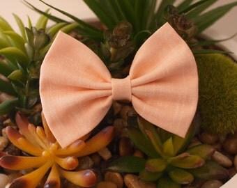 Apricot Linen Bows - Fabric Hair Bows - Ladies Girls Toddler Hair Bows - Mini Bows Everyday Bows Big Bows