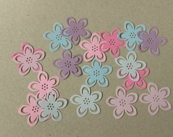 Flower die cuts, baby shower, flower confetti, embellishment, paper flowers, wedding table decor,  set of 20