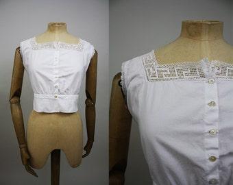 Victorian Cotton Corset Cover / Victorian Camisole / Cotton Crochet Lace / Size Small / Antique / XS S