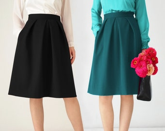 Pleated midi skirt, black, petrol, red, pockets, knee length, office, elegant, high waist, grey, festive, office clothing, navy, ivory,cream