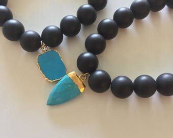 Matte Onyx and Turquoise Beaded Bracelets