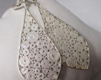 Sterling Silver  Diamond Filigree Dangle Earrings