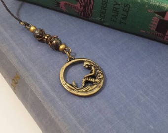 Mermaid bookmark with green and gold beads
