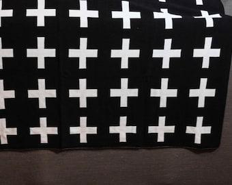 Swiss Cross Baby Blanket // Scandinavian Modern Contemporary Blanket // Black White Cross Throw // Swaddle Receiving Blanket // Nursery