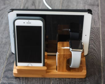Apple Watch iPhone iPad Docking Station, iPhone Dock, Tablet Dock, Nightstand Organizer, Desk Organizer, Electronics Organizer