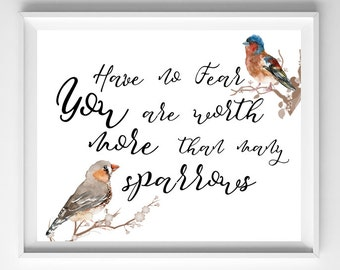 JW | You are worth more than many SPARROWS | Print | decor | art | bird watercolor | encouragement | SKE | Pioneer | Gift 0111
