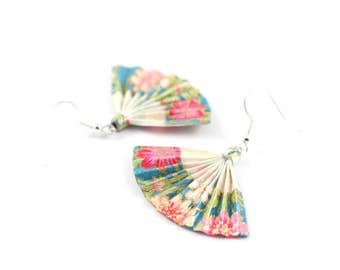 Earrings turquoise and Roses - Origami - fans - Japanese paper