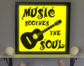 Music Soothes the Soul Sign, Music Room Decor, Music Room Sign, Music Room Light Up Picture, Music Room Lamp, Accent Lamp, LED Sign
