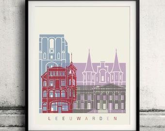 Leeuwarden skyline poster - Fine Art Print Landmarks skyline Poster Gift Illustration Artistic Colorful Landmarks - SKU 2327