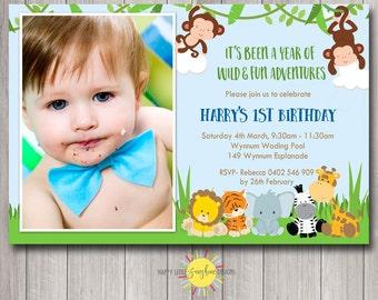 Custom Printable Photo Birthday Invitation Any Age 1st Birthday Jungle Safari Animals Monkey Elephant Lion Tiger Zebra
