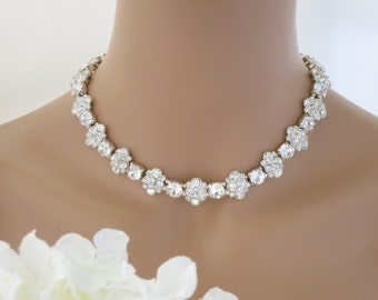 Statement wedding necklace, Rhinestone collar bridal necklace, Swarovski crystal and rhinestone flower necklace, Crystal necklace