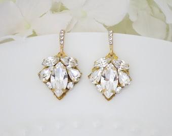 Swarovski rhinestone wedding earring, Crystal and gold dangle earring, Simple gold bridal earring, Bridesmaid earring