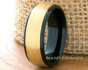 Tungsten Ring,Wedding Ring,Mens Black Band,Anniversary Ring,Yellow Gold Plated,8mm,Promise Ring,Engagement Ring,Comfort Fit,Free Engraving