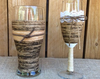 Rustic Wedding Toasting Glasses~Country Wedding Toasting Champagne Flute & Beer Glass~Leather~Lace