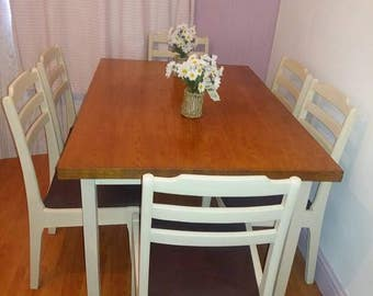 DINING TABLE AND 6 Chair Set - Dining Room Furniture - Table and Chairs - Dining Table and Chairs - Shabby Chic Table Chair Dining Set