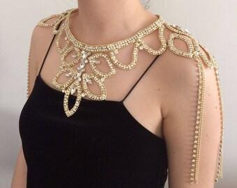 Luxurious Gold Rhinestone Shoulder Jewelry, Gold Shoulder Necklace, Wedding Shoulder Necklace, Bridal Shoulder Jewelry