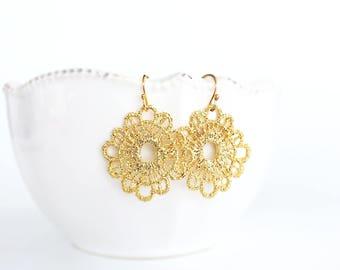 Gold Lace Dangle Earrings, Gold Filigree Earrings, Light Weight Metal Lace Earrings, Bohemian Style