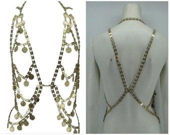 Vintage 60s Crown Trifari body chain, vintage body jewelry, metal vest