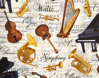 Musical Instruments Fabric / French Horn Fabric / C4828 Timeless Treasures 100% cotton  / Fat Quarters and Yardage /  Cotton Fabric
