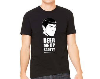 Spock Tee for Trekkies, Beer Me Up Scotty, St Patricks Star Trek, Comic T-Shirt