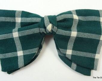 Vintage Clip-On Bow Tie Green Check Bowtie