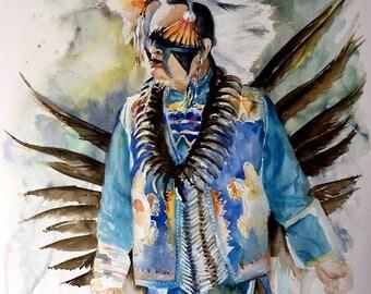 Sky warrior, watercolor, pow wow dancer, Giclee