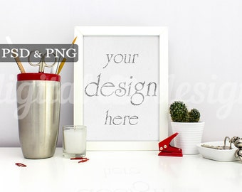 Stationery Mockup Silver Red Office Supplies Desk Styled Stock Photography Vertical Mockup Download Frame Product Digital Background