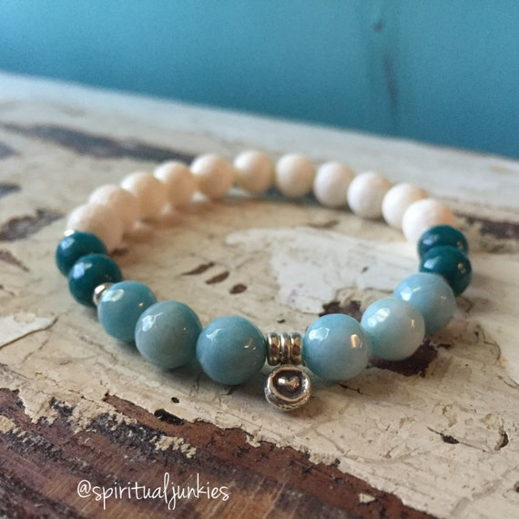 Stackable Mermaid Yogi Natural Coral, Teal Jade, Larimar + Hill Tribe Sterling Silver Heart Spiritual Junkies Yoga and Meditation Bracelet