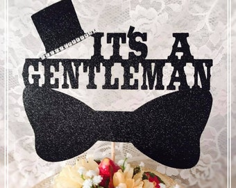 It's A Gentleman Cake Topper - Baby Shower Cake Topper - Baby Shower Party Decorations - Baby Shower Party Decor - Baby Shower Centerpiece