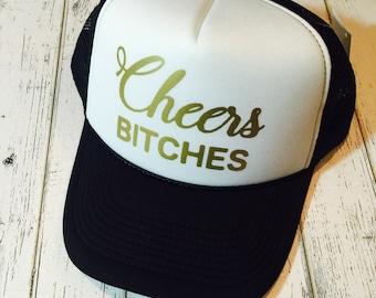 Cheers bitch hat, cheers bitches, bachelorette hat, wedding party hat, wedding party gifts, bachelorette party, bachelorette, trucker hat, w