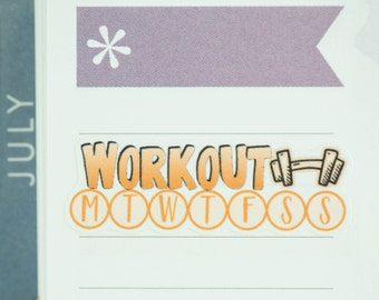 36 Workout Daily Habit Stickers | Exercise Stickers | Planner Stickers designed for use with the Erin Condren Life Planner | 0667