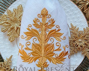 Machine Embroidery Design Gold Christmas tree - 2 sizes