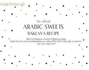 Arabic Sweets Baklava Recipe- Lebanese Style- Instant Download