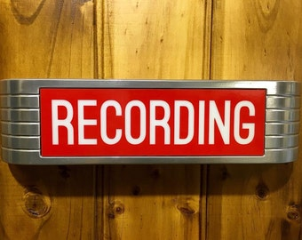 Lightup 1930s Reproduction Recording Sign old chrome style with Red Lens remote control and mounting hardware