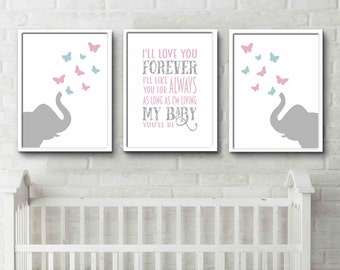 Elephant Butterfly Nursery Animal Nursery Print Butterfly Decor Kids Room  Art