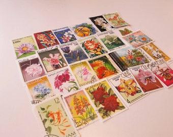 25 Flower Postage Stamps. Worldwide