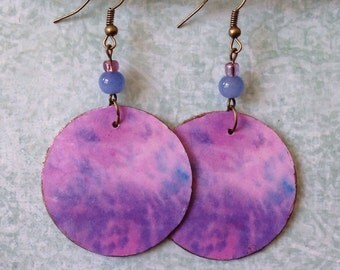Up-cycled Cardboard Cereal Box Earrings, decoupage paper earrings, pink and purple tie dye print earrings
