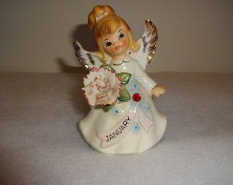 Vintage Lefton Birthday Birthstone Angel Girl Ceramic Figure-January-Garnet. In Great Shape.