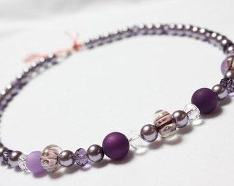 Purple necklace Lampwork