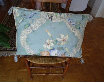 large cushion blue chintz faded, vintage, year 1980 cover.