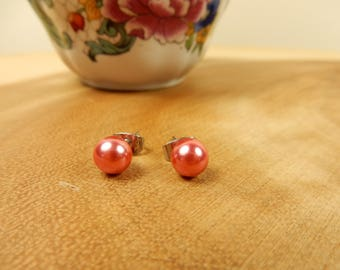 Blush Pink Pearl Earrings, Pink Studs